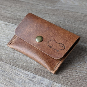 Guinea Pig Coin Purse - Tan Leather