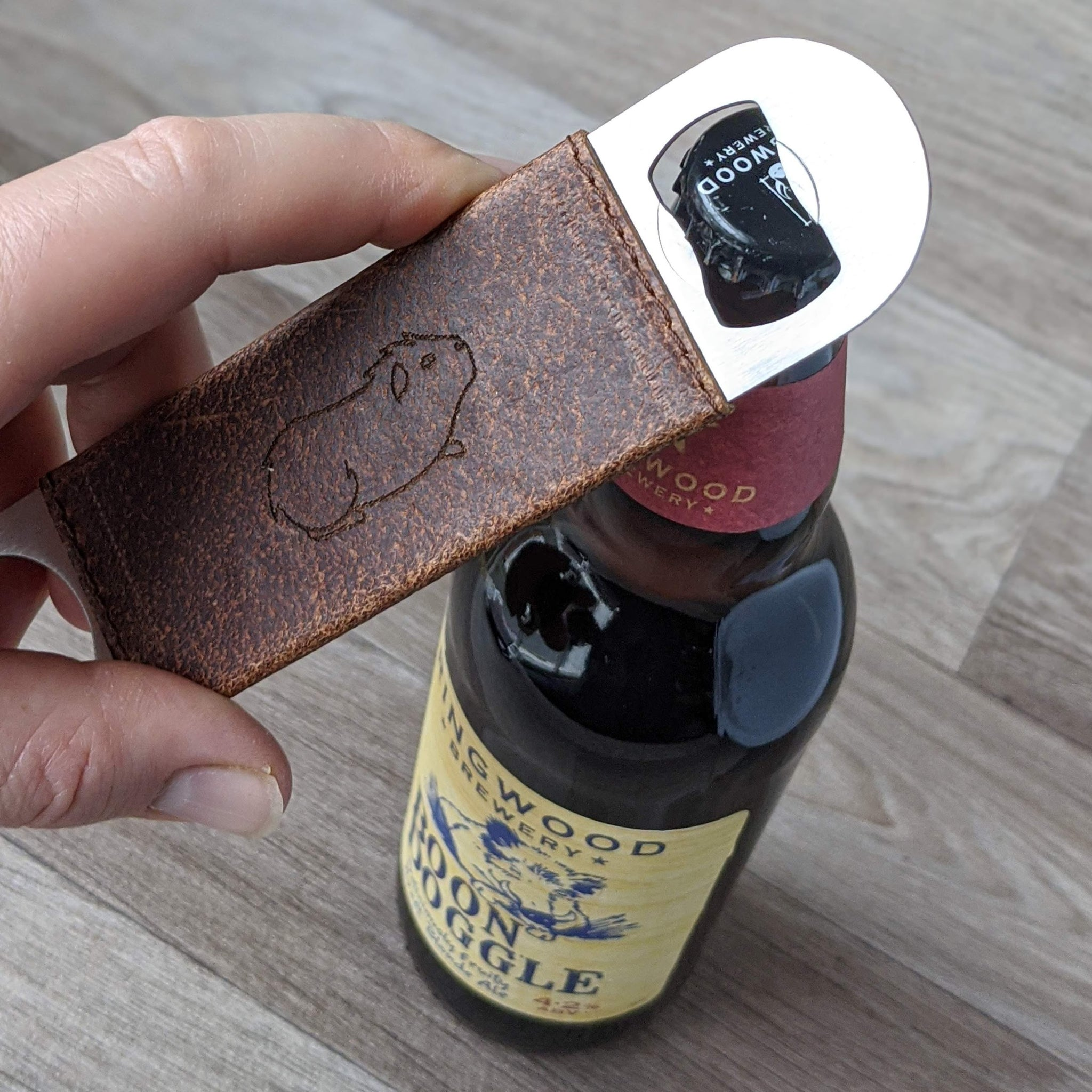 Guinea Pig Bottle Opener - Tan Leather