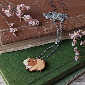 Guinea Pig Necklace - Brown/White