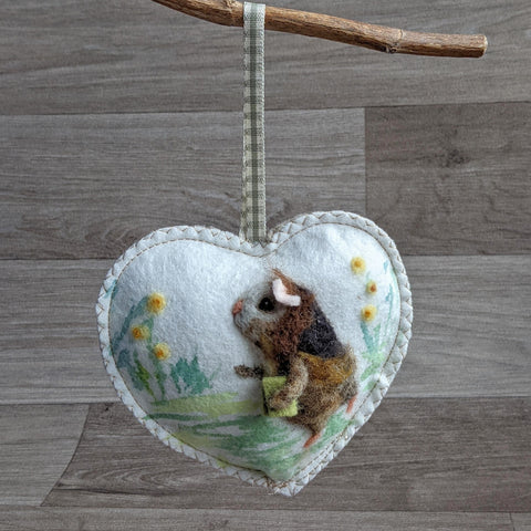 Needle Felted Guinea Pig Lavender Heart Decoration - Everything Guinea Pig