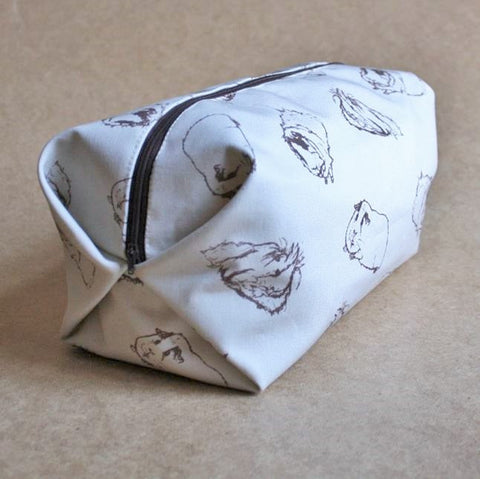Guinea Pig Wash Bag - Sketched Guinea Pig Design