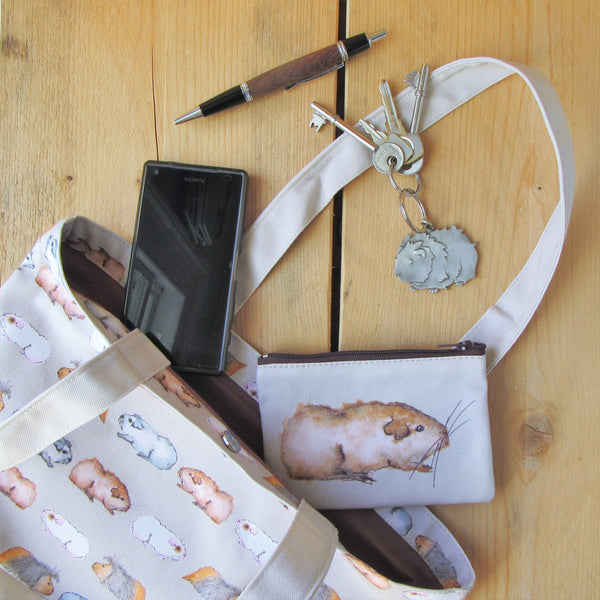 Luxury Tote Bag - Water Colour Guinea Pig Design - Everything Guinea Pig