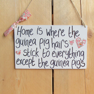 Handmade Hanging Wooden Saying Sign - Everything Guinea Pig  - 1