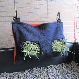 Clip-on Guinea Pig Hay Bag - Navy/Orange - Everything Guinea Pig