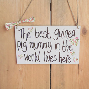 Handmade Guinea Pig Mummy Wooden Sign - Everything Guinea Pig