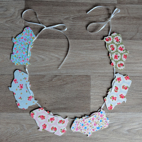 Guinea pig bunting - mixed floral design