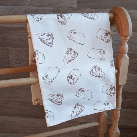 Guinea Pig Tea Towel - Sketched Guinea Pig Design - Everything Guinea Pig