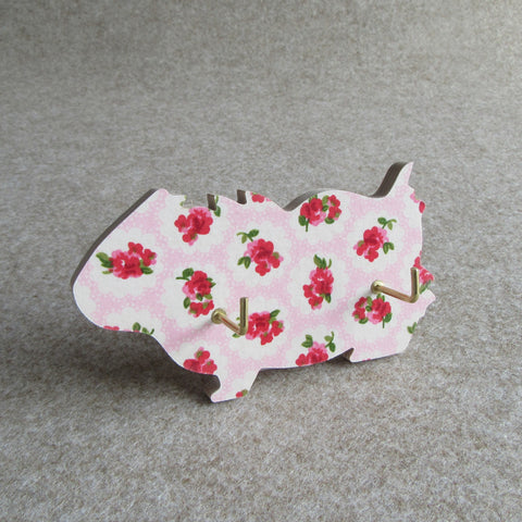 Wall-mounted guinea pig key hook - pink floral design