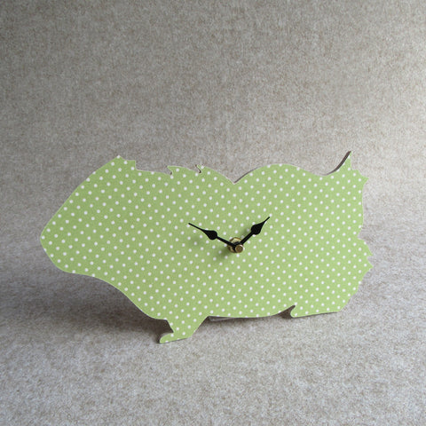 Guinea Pig Wall Clock - Green Polka Dot