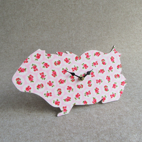 Guinea Pig Wall Clock - Pink Floral Design