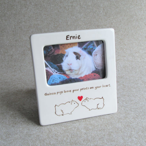 Personalised Ceramic Photo Frame - 'Guinea pigs leave paw prints on your heart'