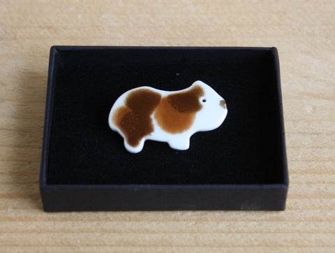 Handmade Porcelain Guinea Pig Brooch - Brown & White - Everything Guinea Pig
