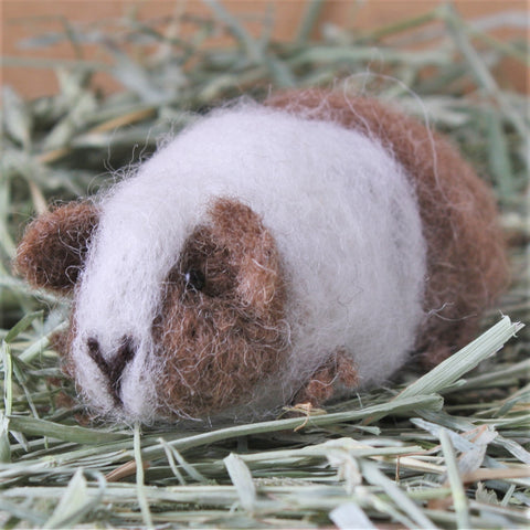 Guinea Pig Needle Felting Craft Kit - Doris Brown & White