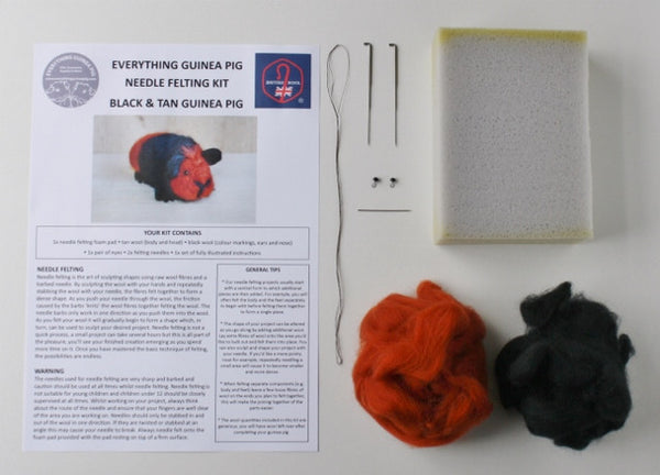 Guinea Pig Needle Felting Craft Kit - Bertie Black & Tan - Everything Guinea Pig