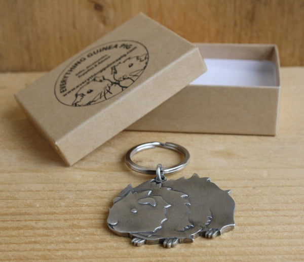 Guinea Pig Keyring - Fine Cast Pewter - Everything Guinea Pig