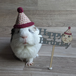 Guinea Pig Cake Topper (Party Hat)