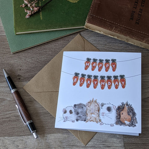 Carrot Bunting Guinea Pig Birthday Card