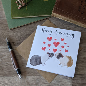 Love Hearts Guinea Pig Anniversary Card