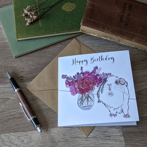 Flowers Guinea Pig Birthday Card