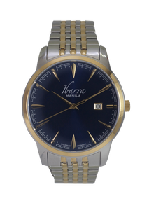 RIZAL 39MM QUARTZ TWO-TONE GOLD WATCH (BLUE DIAL)