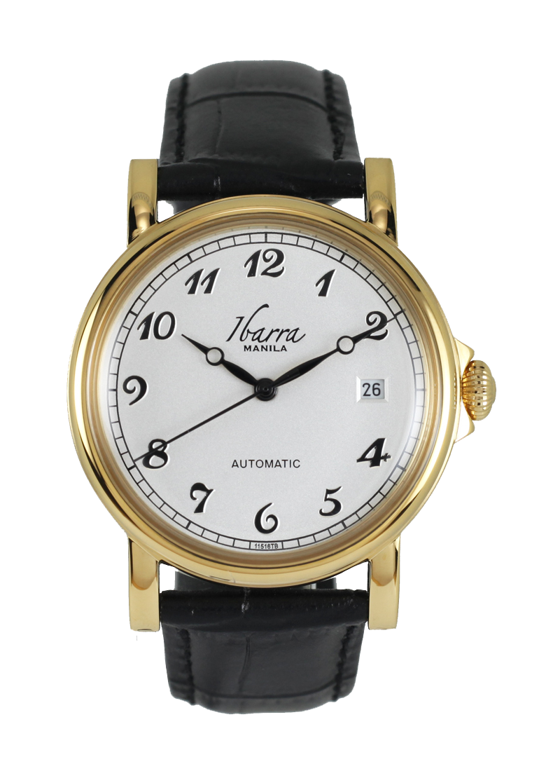 PLARIDEL 38MM AUTOMATIC GOLD DRESS WATCH (BLACK STRAP)
