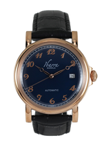 Load image into Gallery viewer, PLARIDEL 38MM AUTOMATIC ROSE GOLD DRESS WATCH (BLACK STRAP)
