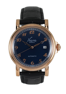 PLARIDEL 38MM AUTOMATIC ROSE GOLD DRESS WATCH (BLACK STRAP)