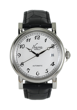 Load image into Gallery viewer, PLARIDEL 38MM AUTOMATIC SILVER DRESS WATCH (BLACK STRAP)