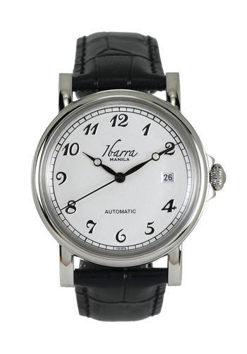 PLARIDEL 38MM AUTOMATIC SILVER DRESS WATCH (BLACK STRAP)