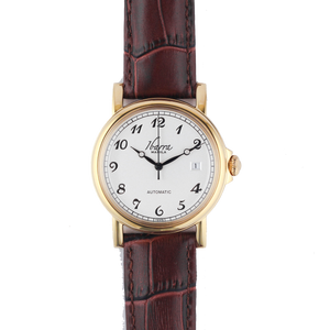 PLARIDEL 38MM AUTOMATIC GOLD DRESS WATCH (BROWN STRAP)