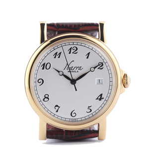 PLARIDEL 38MM QUARTZ GOLD DRESS WATCH (BROWN STRAP)