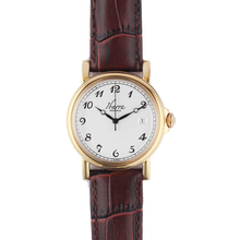 Load image into Gallery viewer, PLARIDEL 38MM QUARTZ GOLD DRESS WATCH (BROWN STRAP)