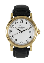 Load image into Gallery viewer, PLARIDEL 38MM QUARTZ GOLD DRESS WATCH (BLACK STRAP)