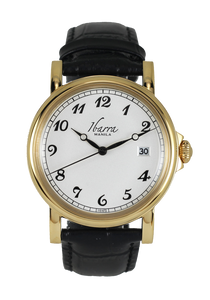 PLARIDEL 38MM QUARTZ GOLD DRESS WATCH (BLACK STRAP)