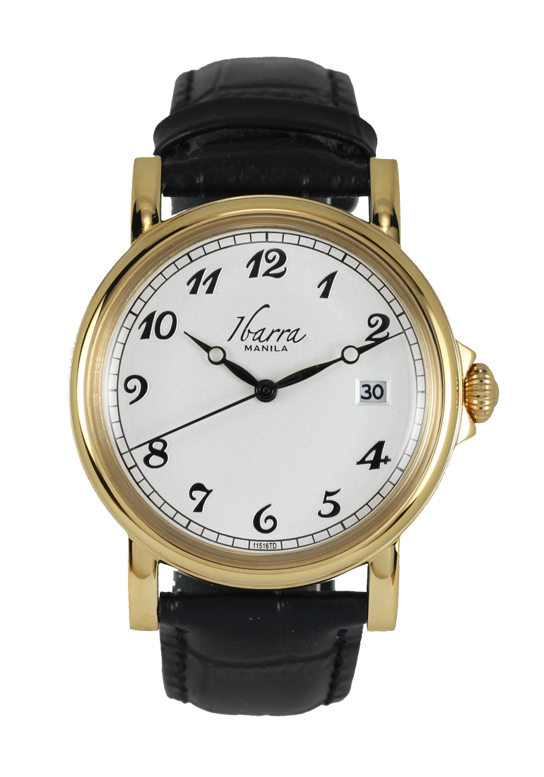 Plaridel 38mm Quartz Gold Dress Watch Black Strap