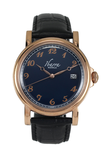 PLARIDEL 38MM QUARTZ ROSE GOLD DRESS WATCH (BLACK STRAP)