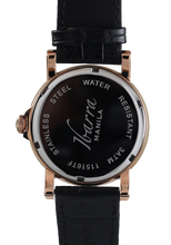Load image into Gallery viewer, PLARIDEL 38MM QUARTZ ROSE GOLD DRESS WATCH (BLACK STRAP)