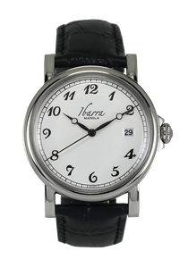 PLARIDEL 38MM QUARTZ SILVER DRESS WATCH (BLACK STRAP)