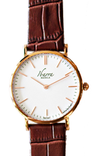 Load image into Gallery viewer, RIZAL CLASSIC 36MM ROSE GOLD LEATHER DRESS WATCH