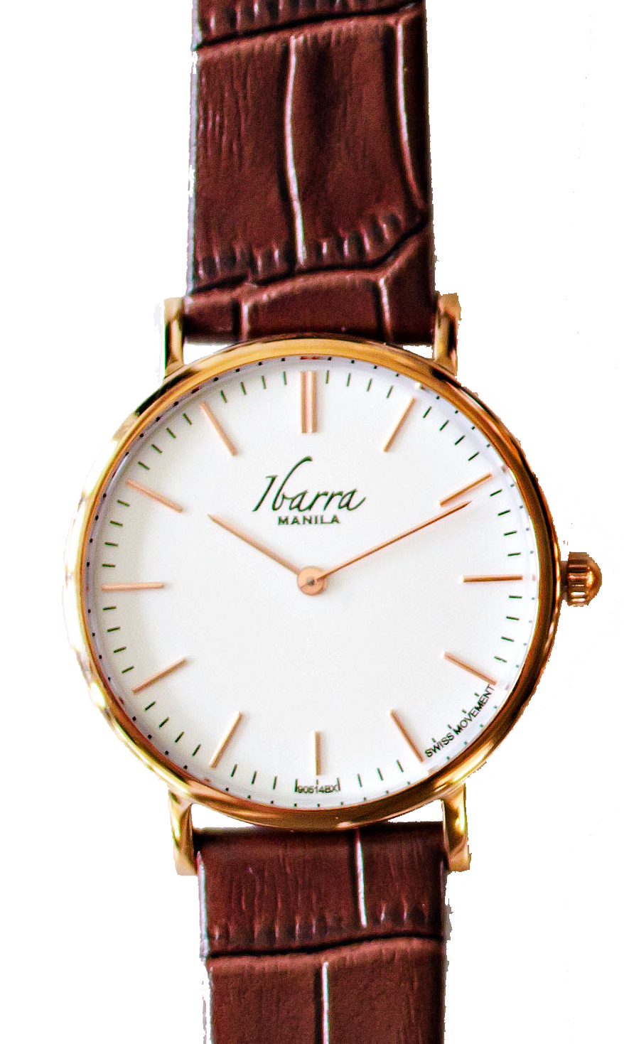 RIZAL CLASSIC 36MM ROSE GOLD LEATHER DRESS WATCH