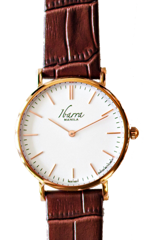 RIZAL 36MM ROSE GOLD LEATHER DRESS WATCH