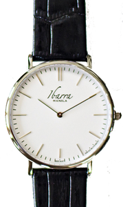 RIZAL CLASSIC 40MM SILVER LEATHER DRESS WATCH