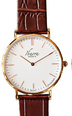 RIZAL 40MM ROSE GOLD LEATHER DRESS WATCH