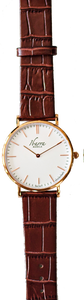 RIZAL CLASSIC 40MM ROSE GOLD LEATHER DRESS WATCH