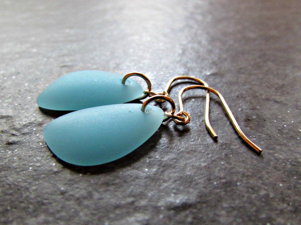 Aqua Blue Sea Glass Drop Earrings- Sterling Silver, 14K Gold Filled or 14K Rose Gold Filled- Beach Jewelry