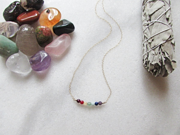 Seven 7 Chakra Necklace- Raw Healing Crystal Gemstones- Reiki Infused Jewelry