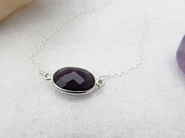 Amethyst Gemstone Necklace- Healing Crystal Stone- Reiki Infused Jewelry