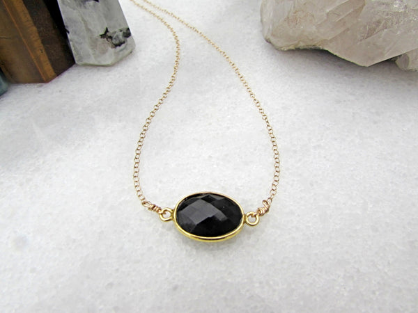 Black Onyx Gemstone Necklace- Healing Crystal Stone- Reiki Infused Jewelry