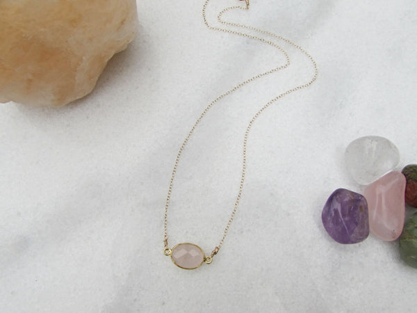 Rose Quartz Gemstone Necklace- Healing Crystal Stone- Reiki Infused Jewelry