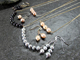 Gray Freshwater Pearl Bar Necklace
